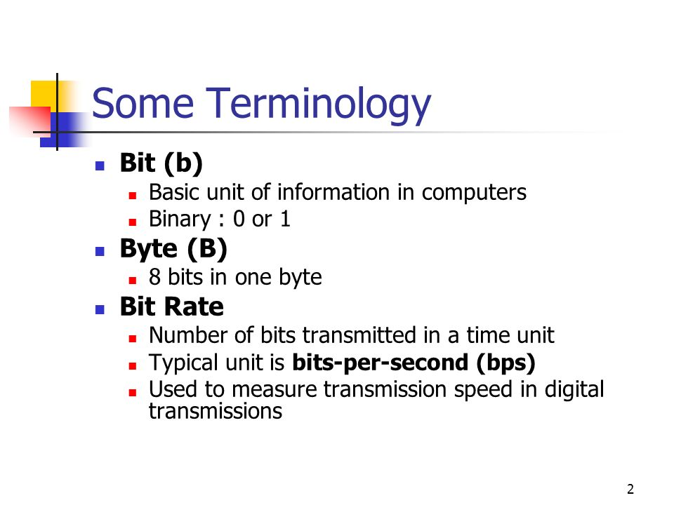 3 Terminology continued… 1K Bytes = 2 10 Bytes = 1024 Bytes = 8192 bits Similarly, 1M Bytes = 2 20 Bytes However, 1 Kbps 2 10 bps 1 Kbps = 1000 bps Similarly, 1 Mbps = 10 6 bps In this course, the approximation 1KB ~ 1000 Bytes is always allowed
