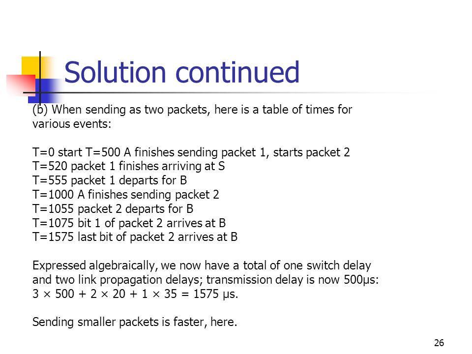 26 Solution continued (b) When sending as two packets, here is a table of times for various events: T=0 start T=500 A finishes sending packet 1, start