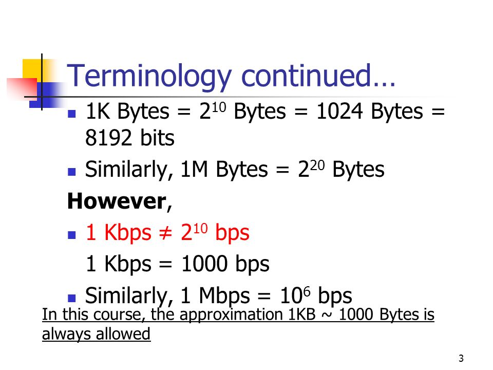 4 Terminology Delay/Latency: Time it takes a message to travel from one end of a link to another It is a very important performance parameter End to End delay consists of several components Transmission time Propagation delay Nodal Processing time Queuing delay