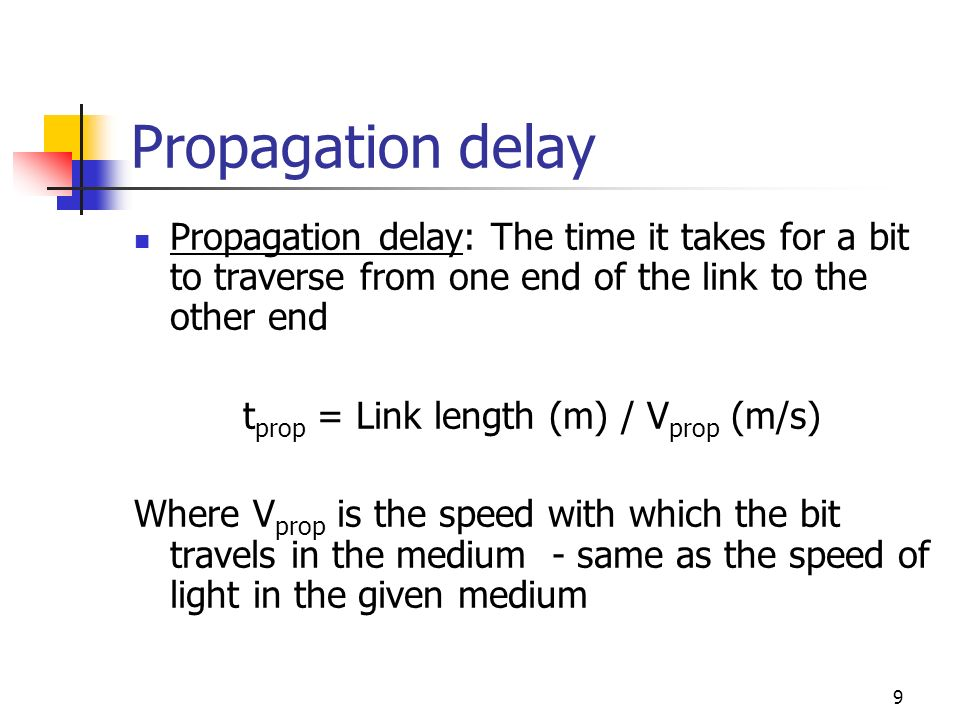 10 Propagation delay example Ex: What is the propagation time of a message in a link of 2.5 Km long.