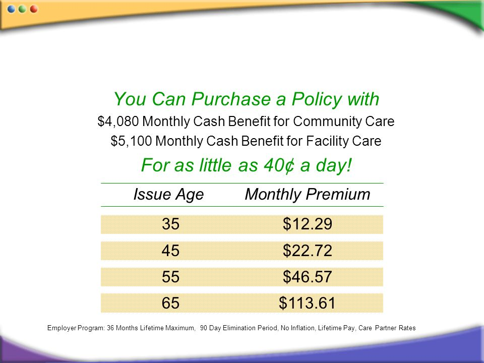 You Can Purchase a Policy with $4,080 Monthly Cash Benefit for Community Care $5,100 Monthly Cash Benefit for Facility Care For as little as 40¢ a day