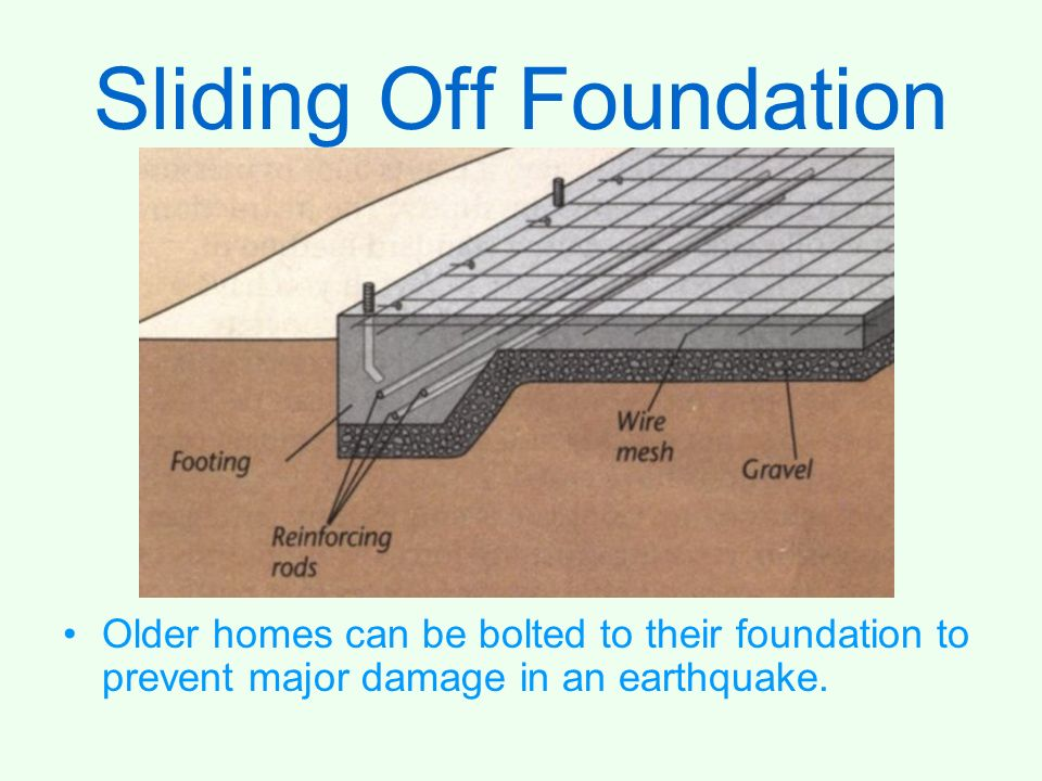 Sliding Off Foundation Older homes can be bolted to their foundation to prevent major damage in an earthquake.