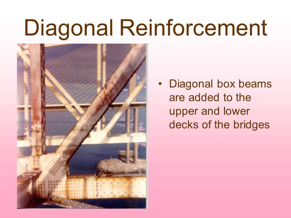 Diagonal Reinforcement Diagonal box beams are added to the upper and lower decks of the bridges