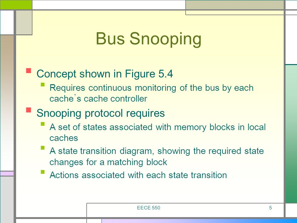 EECE 5505 Bus Snooping Concept shown in Figure 5.4 Requires continuous monitoring of the bus by each cache s cache controller Snooping protocol requir