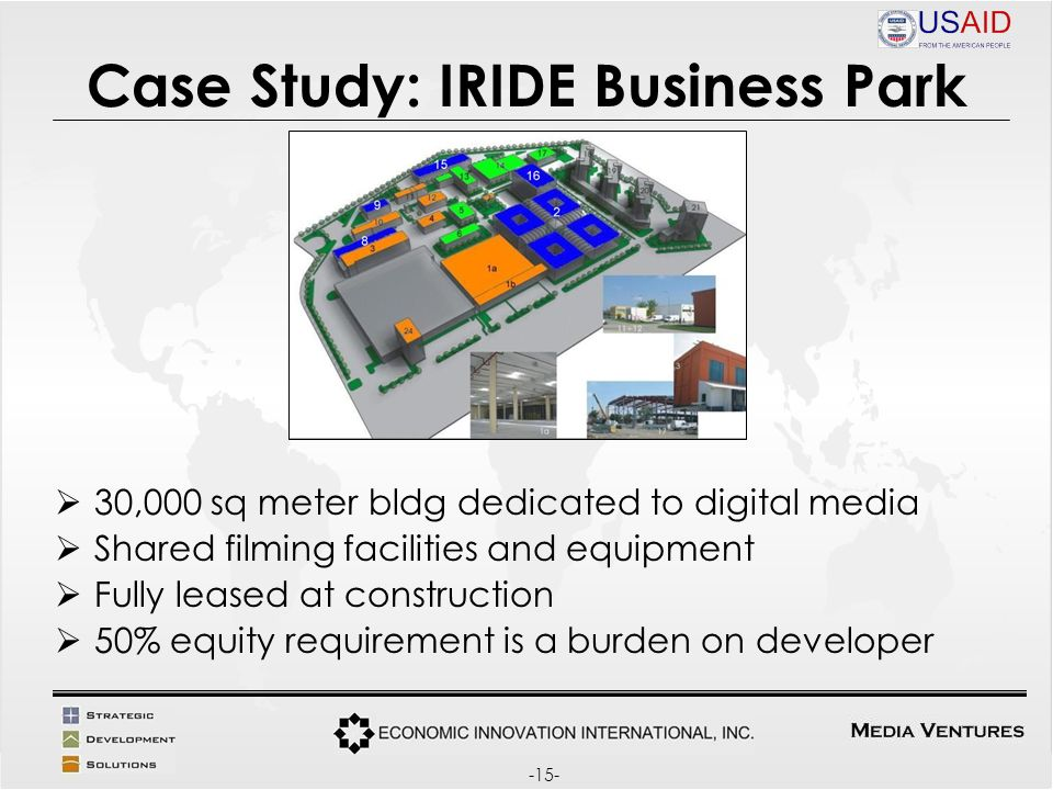 Case Study: IRIDE Business Park 30,000 sq meter bldg dedicated to digital media Shared filming facilities and equipment Fully leased at construction 50% equity requirement is a burden on developer -15-