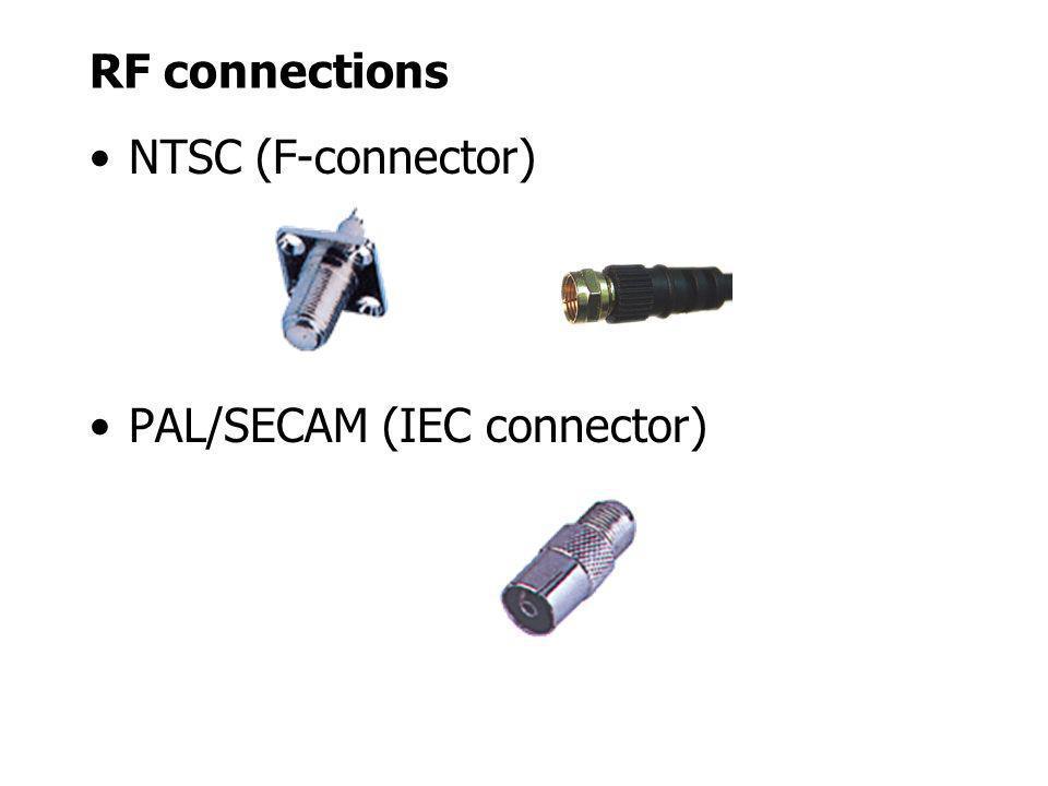 RF connections NTSC (F-connector) PAL/SECAM (IEC connector)