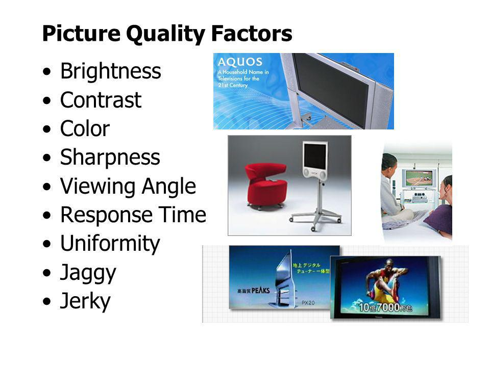 Picture Quality Factors Brightness Contrast Color Sharpness Viewing Angle Response Time Uniformity Jaggy Jerky