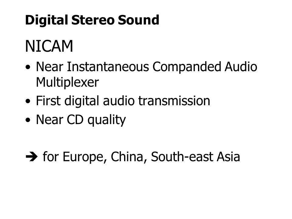 Digital Stereo Sound NICAM Near Instantaneous Companded Audio Multiplexer First digital audio transmission Near CD quality for Europe, China, South-ea
