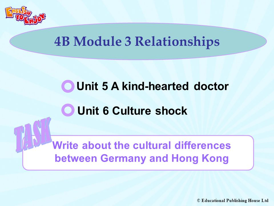 © Educational Publishing House Ltd 4B Module 3 Relationships Write about the cultural differences between Germany and Hong Kong Unit 5 A kind-hearted doctor Unit 6 Culture shock
