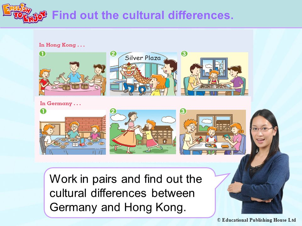 © Educational Publishing House Ltd Work in pairs and find out the cultural differences between Germany and Hong Kong.