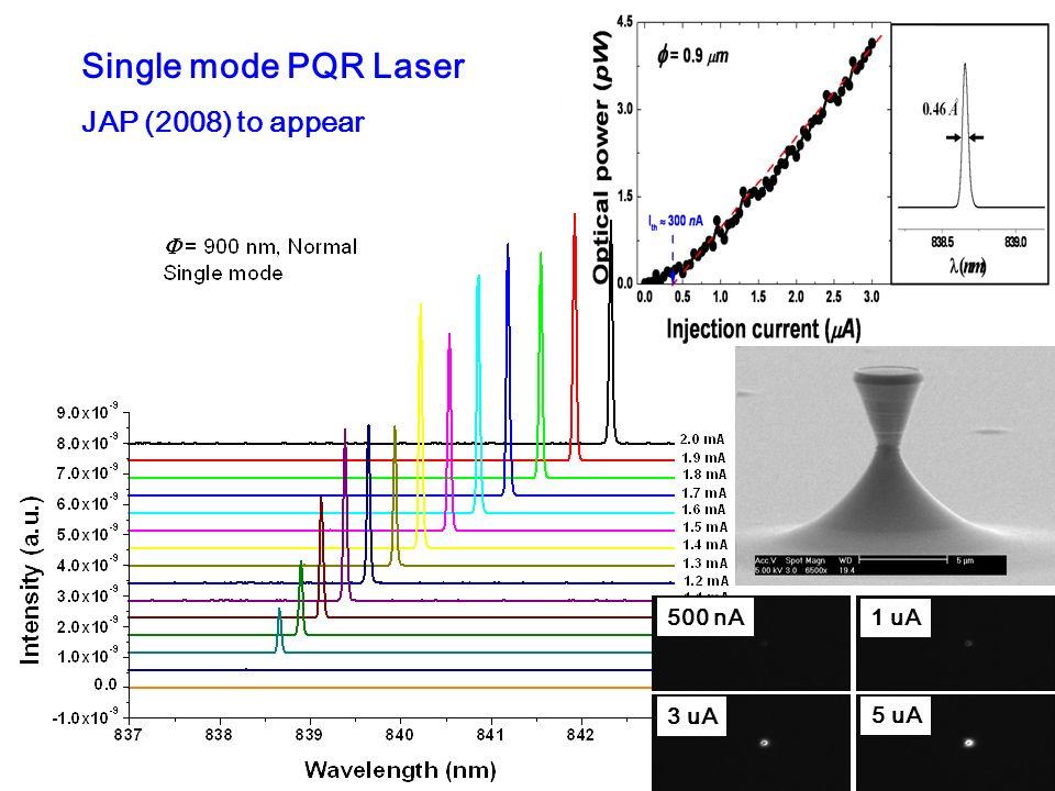 Single mode PQR Laser JAP (2008) to appear 500 nA 1 uA 3 uA 5 uA