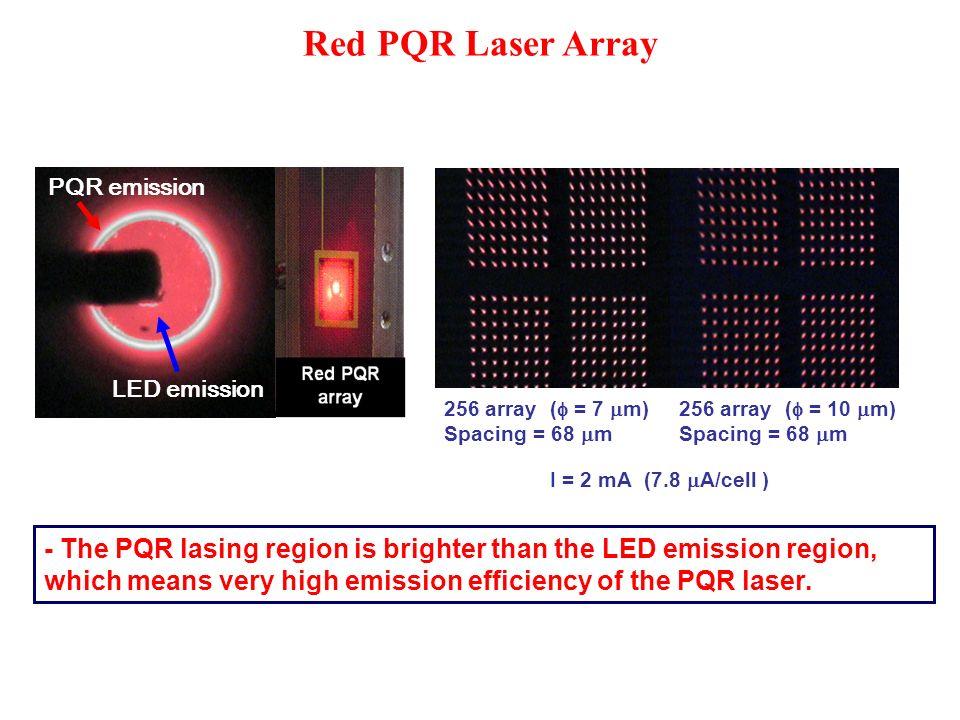Red PQR Laser Array PQR emission LED emission 256 array ( = 7 m) Spacing = 68 m 256 array ( = 10 m) Spacing = 68 m I = 2 mA (7.8 A/cell ) - The PQR la