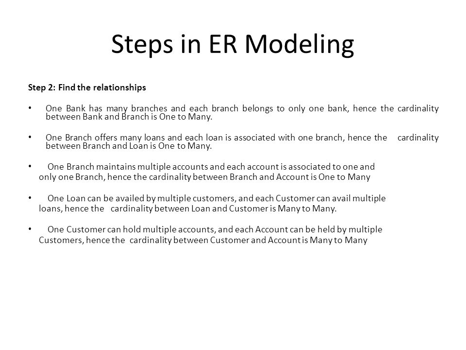 Steps in ER Modeling Step 3: Identify the key attributes BankCode (Bank Code) is the key attribute for the Entity Bank, as it identifies the bank uniquely Branch# (Branch Number) is the key attribute for Branch Entity Customer# (Customer Number) is the key attribute for Customer Entity Loan# (Loan Number) is the key attribute for Loan Entity Account No (Account Number) is the key attribute for Account Entity
