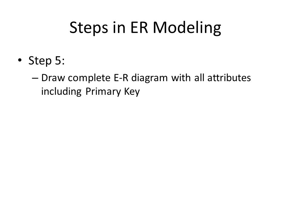 Steps in ER Modeling Step 5: – Draw complete E-R diagram with all attributes including Primary Key