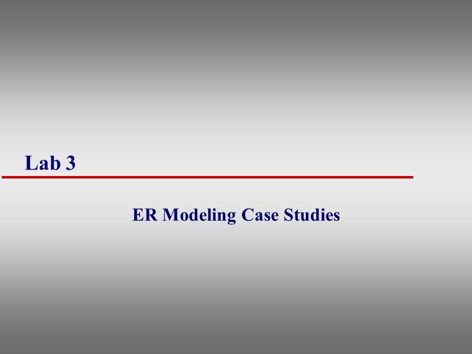 Lab 3 ER Modeling Case Studies
