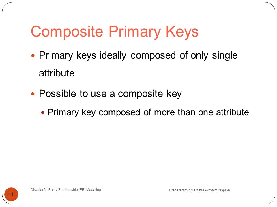 Composite Primary Keys Chapter 3 | Entity Relationship (ER) Modeling Prepared by : Maizatul Akma bt Napiah 11 Primary keys ideally composed of only si