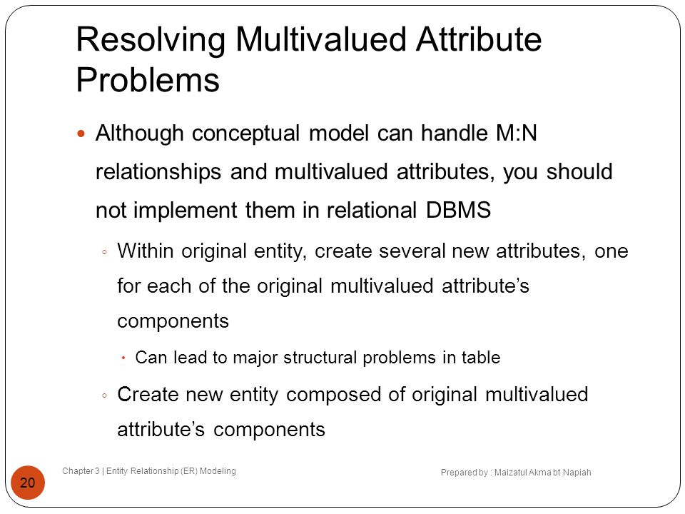 Resolving Multivalued Attribute Problems Chapter 3 | Entity Relationship (ER) Modeling Prepared by : Maizatul Akma bt Napiah 20 Although conceptual mo
