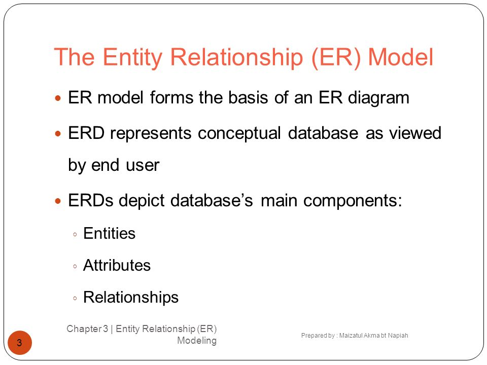 Entities Chapter 3 | Entity Relationship (ER) Modeling Prepared by : Maizatul Akma bt Napiah 4 Refers to entity set and not to single entity occurrence Corresponds to table and not to row in relational environment In both Chen and Crows Foot models, entity is represented by rectangle containing entitys name Entity name, a noun, is usually written in capital letters