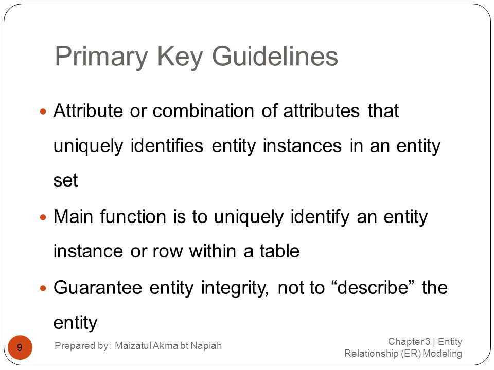 Primary Key Guidelines (continued) Chapter 3 | Entity Relationship (ER) Modeling Prepared by : Maizatul Akma bt Napiah 10