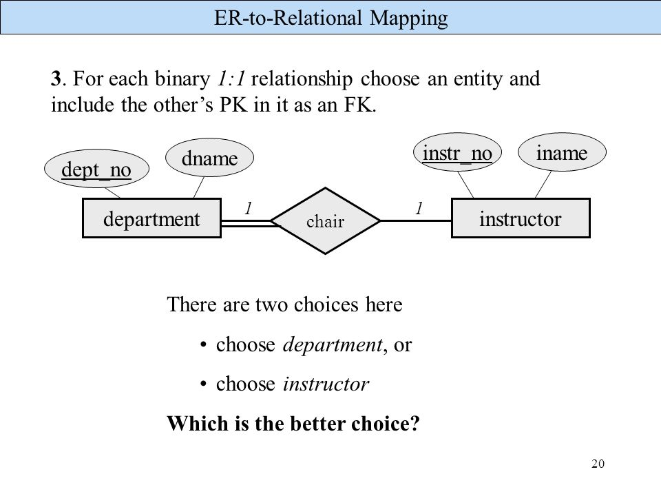 ER-to-Relational Mapping 20 3. For each binary 1:1 relationship choose an entity and include the others PK in it as an FK. departmentinstructor chair
