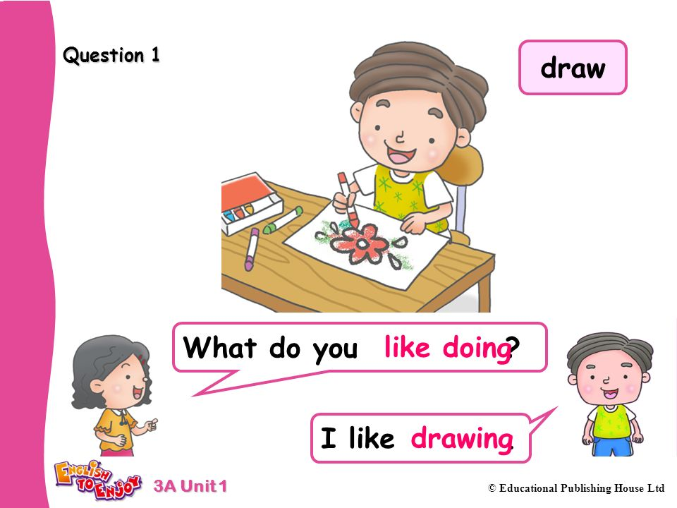 3A Unit 1 © Educational Publishing House Ltd Question 1 What do you ? I like. like doing drawing draw
