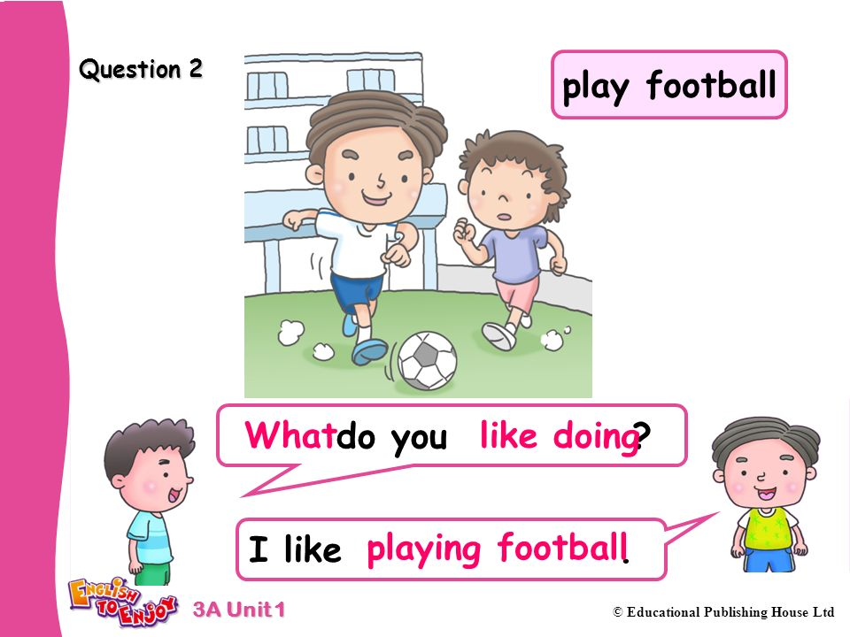 3A Unit 1 © Educational Publishing House Ltd Question 2 do you ? I like. like doing playing football What play football
