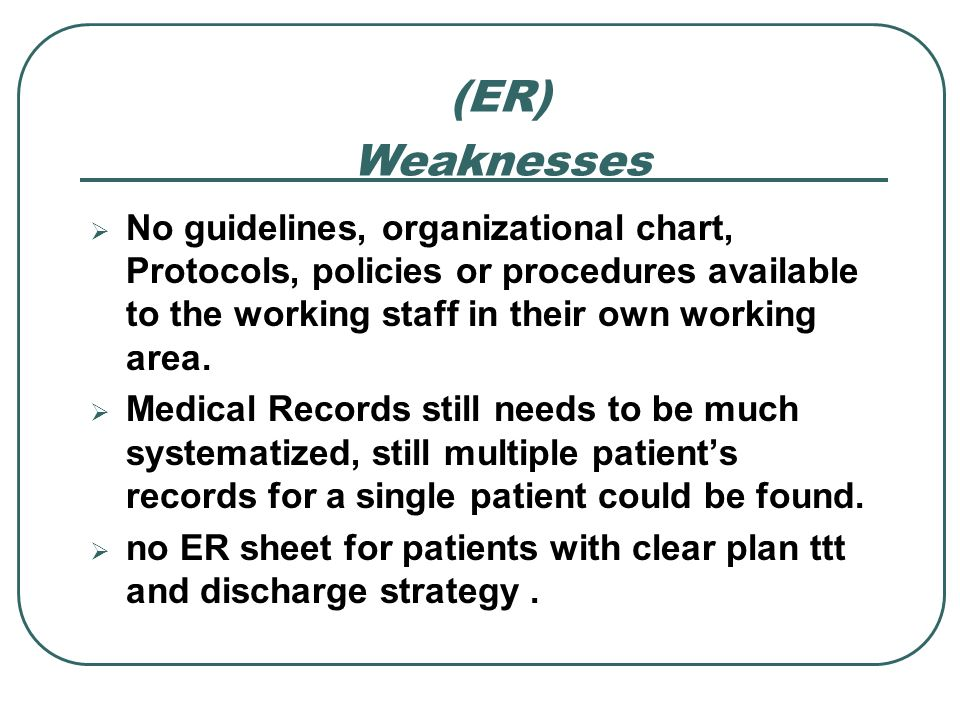 No guidelines, organizational chart, Protocols, policies or procedures available to the working staff in their own working area. Medical Records still
