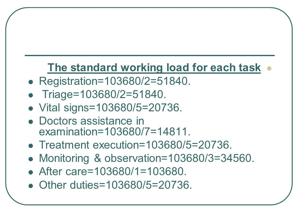 The standard working load for each task Registration=103680/2=51840. Triage=103680/2=51840. Vital signs=103680/5=20736. Doctors assistance in examinat