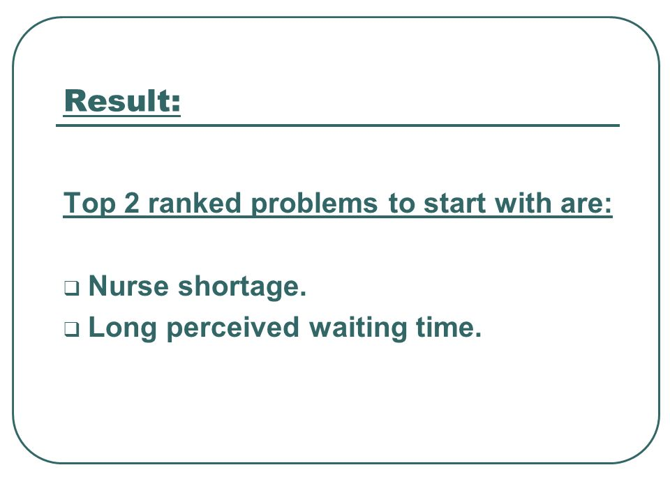 Result: Top 2 ranked problems to start with are: Nurse shortage. Long perceived waiting time.