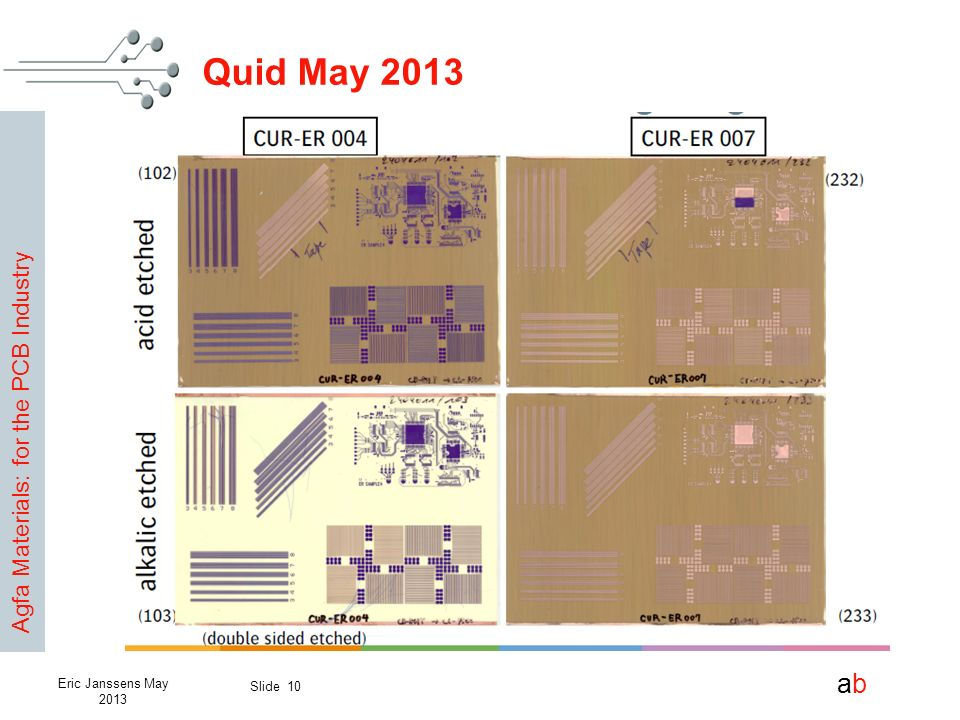 Agfa Materials: for the PCB Industry abab Slide 10 Eric Janssens May 2013 Quid May 2013