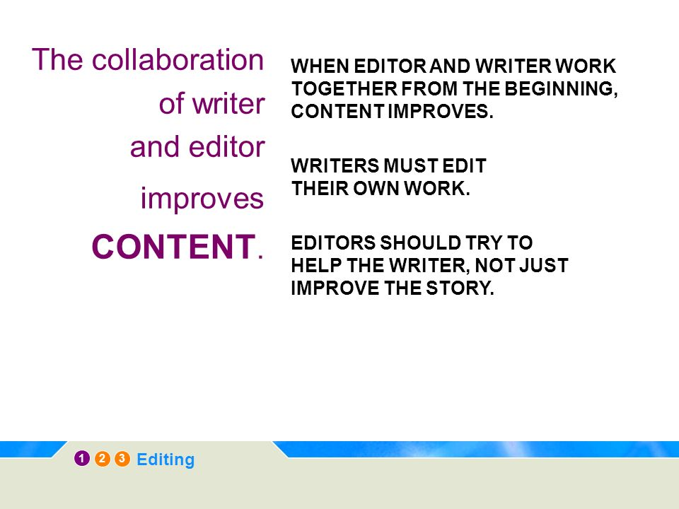 12 3 Editing The collaboration of writer and editor improves CONTENT.