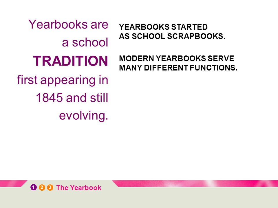 12 3 The Yearbook Yearbooks are a school TRADITION first appearing in 1845 and still evolving.
