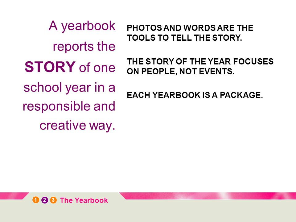 12 3 The Yearbook A yearbook reports the STORY of one school year in a responsible and creative way. PHOTOS AND WORDS ARE THE TOOLS TO TELL THE STORY.