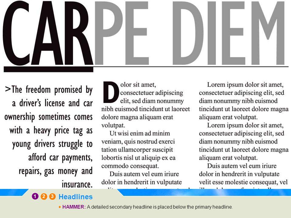 12 3 Headlines TRIPOD: The secondary headline is placed beside the primary headline.