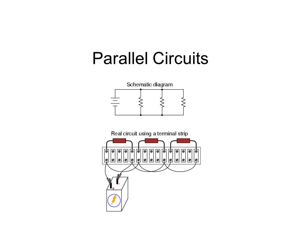 Parallel Circuit Multiple pathways for current Total current is the sum of the currents at each resistor (Current is NOT the same everywhere) Potential difference is the same everywhere in the circuit