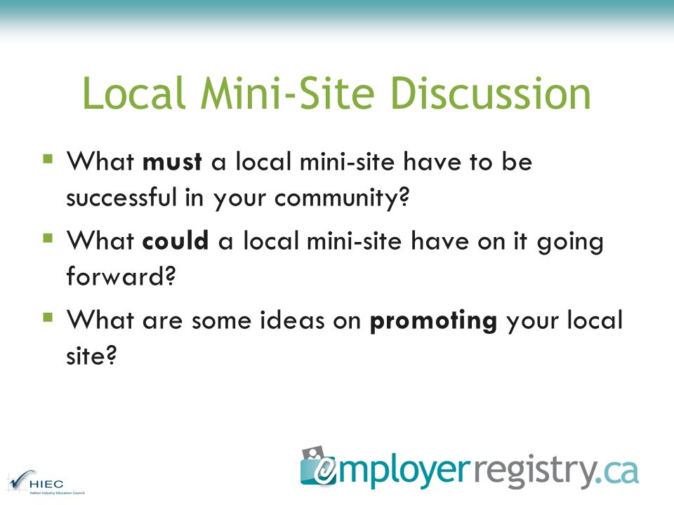 Local Mini-Site Discussion What must a local mini-site have to be successful in your community.