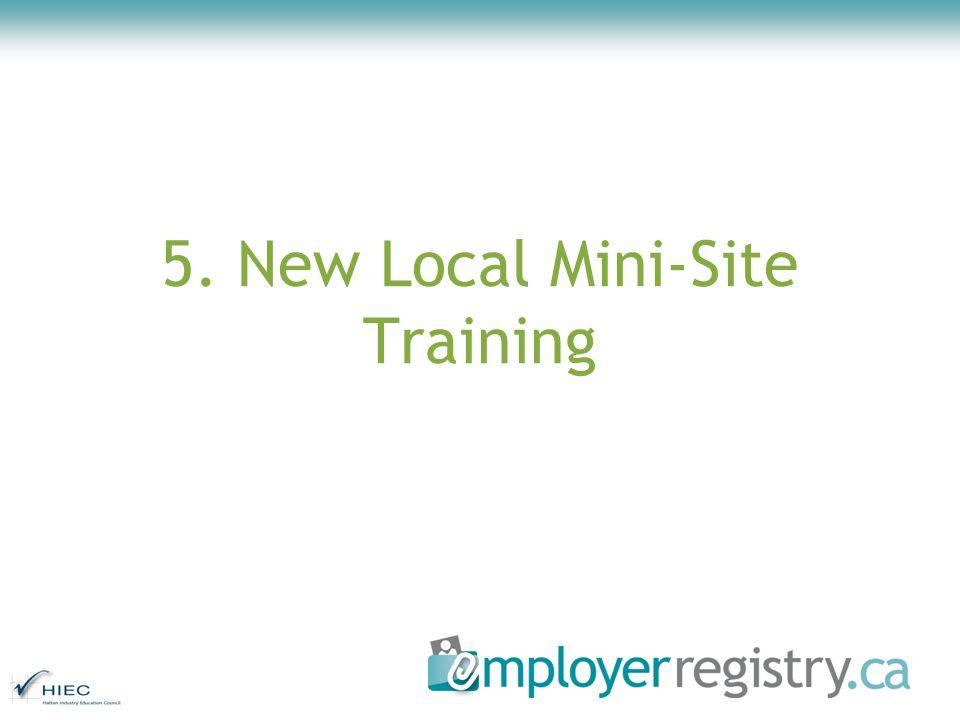 5. New Local Mini-Site Training