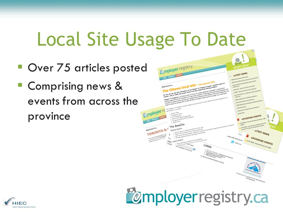 Local Site Usage To Date Over 75 articles posted Comprising news & events from across the province