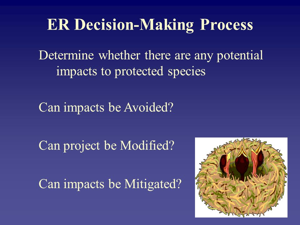 ER Decision-Making Process Determine whether there are any potential impacts to protected species Can impacts be Avoided? Can project be Modified? Can