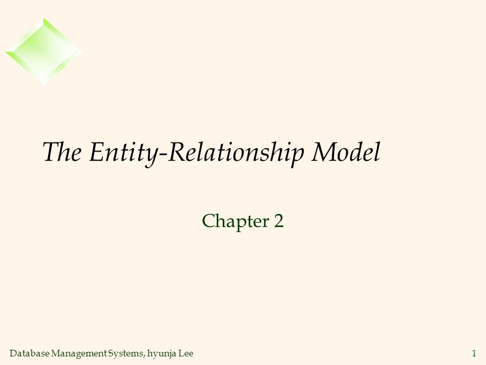 Database Management Systems, hyunja Lee1 The Entity-Relationship Model Chapter 2
