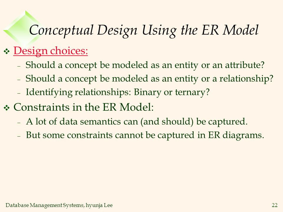 Database Management Systems, hyunja Lee22 Conceptual Design Using the ER Model v Design choices: – Should a concept be modeled as an entity or an attr