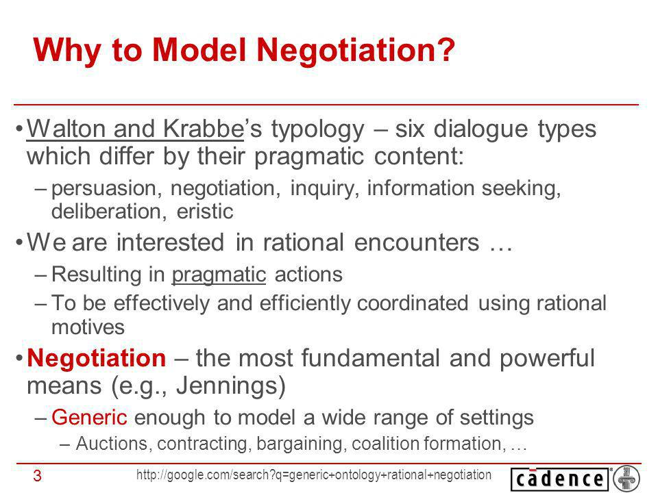 http://google.com/search?q=generic+ontology+rational+negotiation 14 Negotiation Set The set of matters or Issues negotiated in the Negotiation Process NS = {NI, …, NI} Negotiation Parties aim at reaching an agreement on the values of the NI Single-issue negotiation: |NS| = 1 Multi-issue negotiation: |NS| > 1 NI: becomes the CEO Valuation: 3,000 UU Agreed value: 4,000 UU