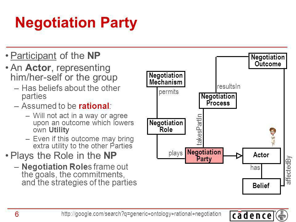 http://google.com/search?q=generic+ontology+rational+negotiation 17 Negotiation Setting: 1 - 1, 1 - m, m - m 1-to-1 negotiation: 1 Party negotiates with exactly 1 opponent 1-to-many: 1 representative of a Role negotiates with the group(s) of the representatives of (an)other Role(s) Many-to-many: if there are 2 or more groups of Parties playing different Roles If you support my appointment as the CEO I shall help you to become the CFO We have to appoint the CEO, the CFO, the Board of Trustees