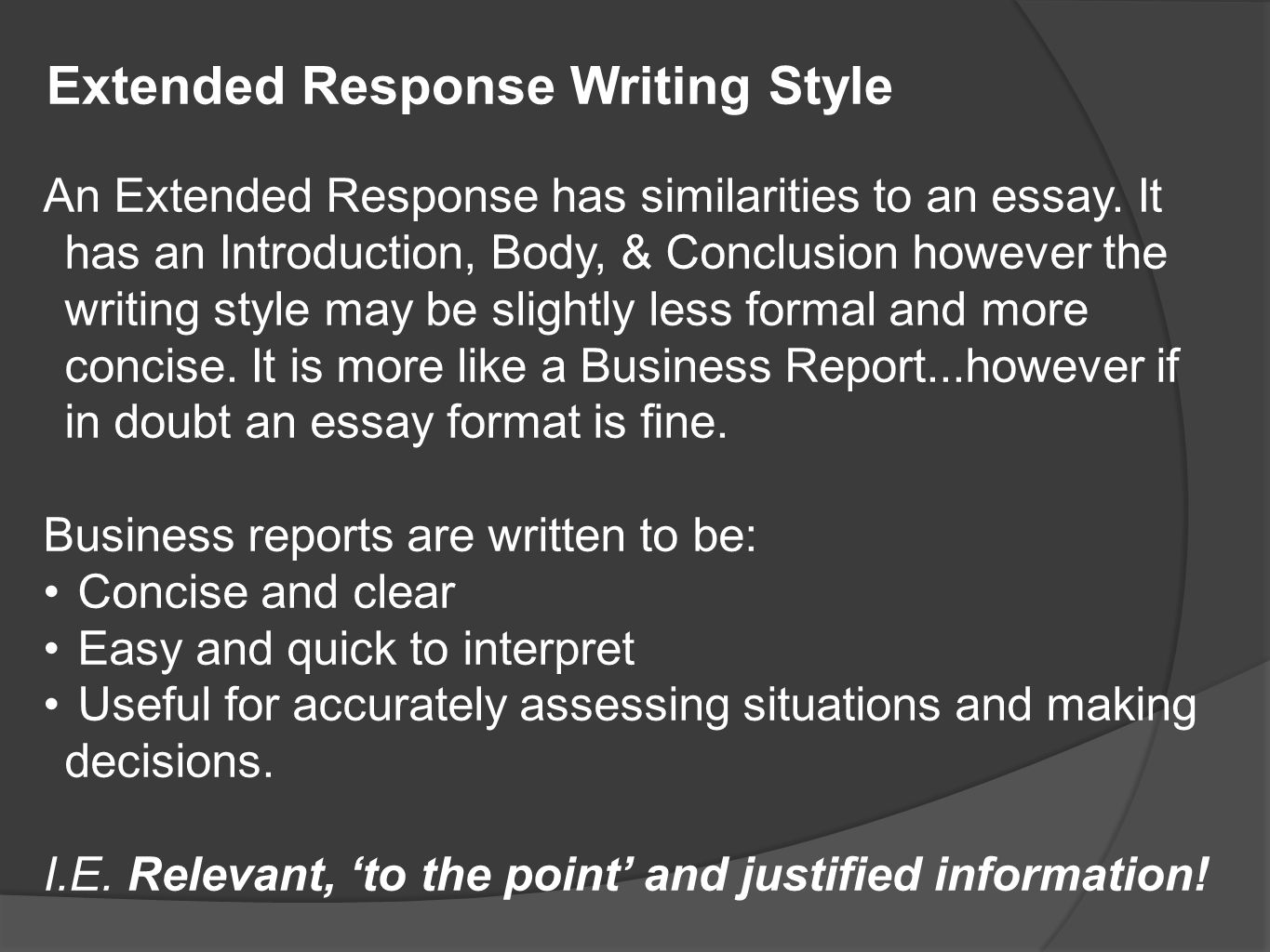 Short preview or overview statements Shorter than traditional essay paragraphs that get right to the point Lists of main points, as in the previous sample reports, followed by expanded descriptions where appropriate Headings to draw attention to major points or new sections Components of business reports (pt1)