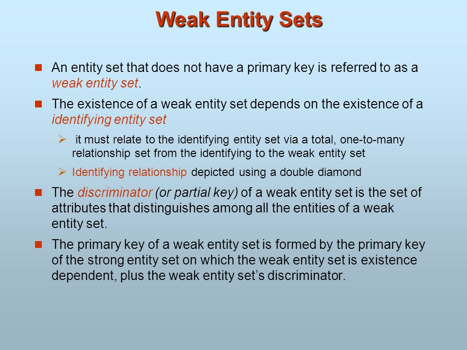 Weak Entity Sets An entity set that does not have a primary key is referred to as a weak entity set. The existence of a weak entity set depends on the