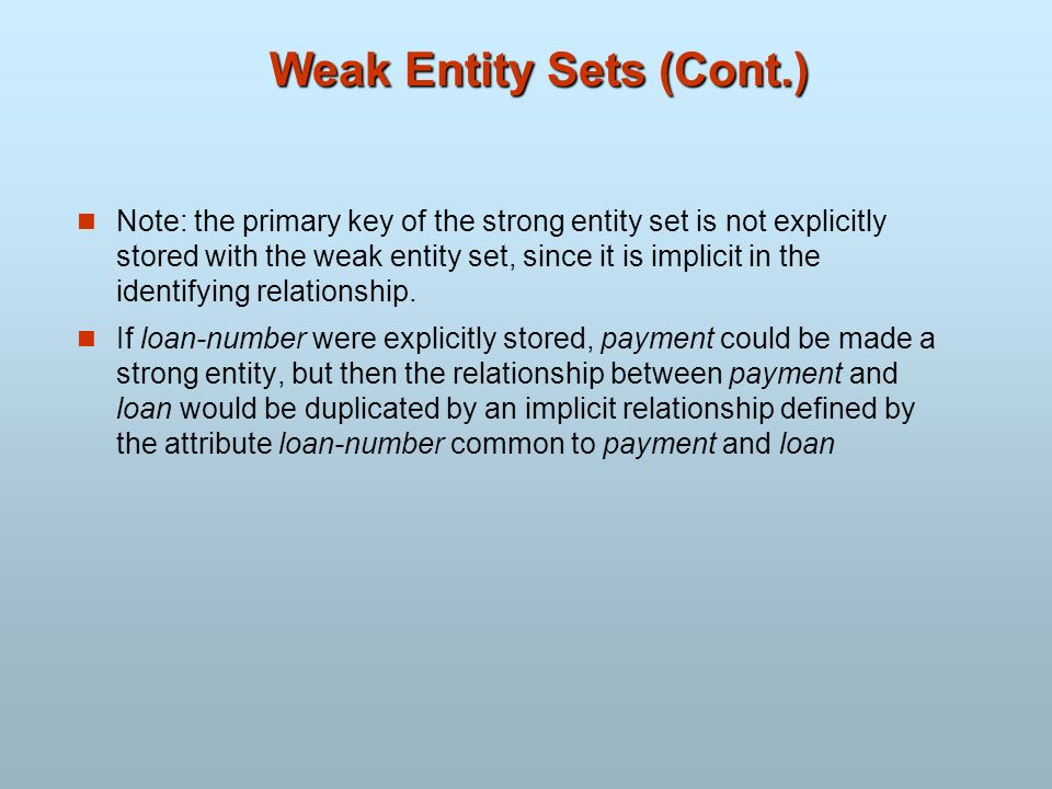 Weak Entity Sets (Cont.) Note: the primary key of the strong entity set is not explicitly stored with the weak entity set, since it is implicit in the