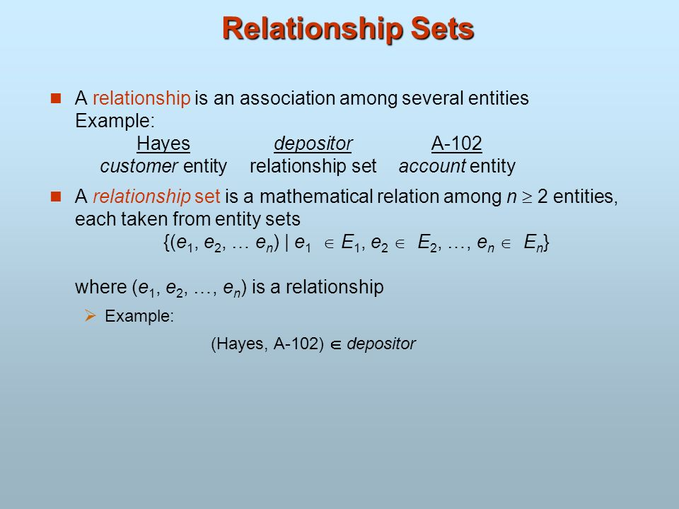 Relationship Sets A relationship is an association among several entities Example: HayesdepositorA-102 customer entityrelationship setaccount entity A