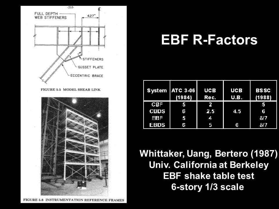 Whittaker, Uang, Bertero (1987) Univ. California at Berkeley EBF shake table test 6-story 1/3 scale