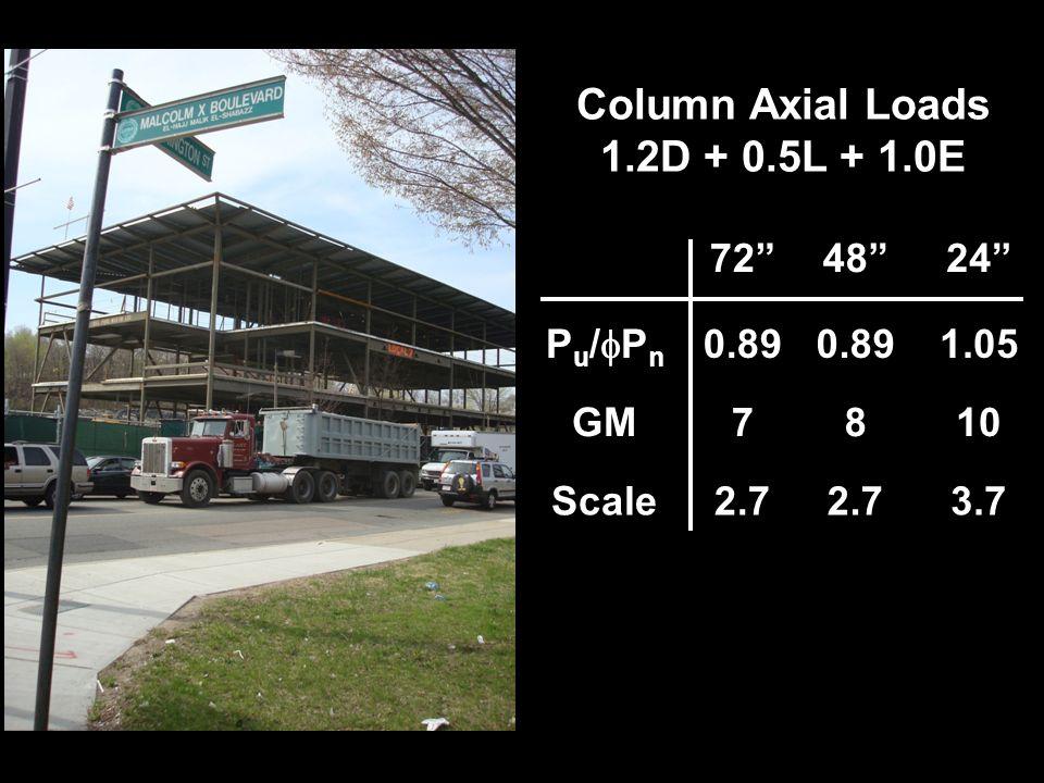 724824 P u / P n 0.89 1.05 GM7810 Scale2.7 3.7 0.73 Column Axial Loads 1.2D + 0.5L + 1.0E