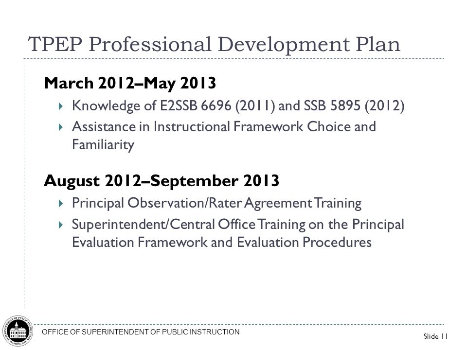 Slide 11 OFFICE OF SUPERINTENDENT OF PUBLIC INSTRUCTION TPEP Professional Development Plan March 2012–May 2013 Knowledge of E2SSB 6696 (2011) and SSB